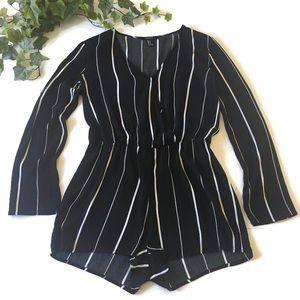 Forever 21 Black & White Striped Romper